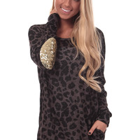 Brown Leopard Print Sequin Patch Sweater