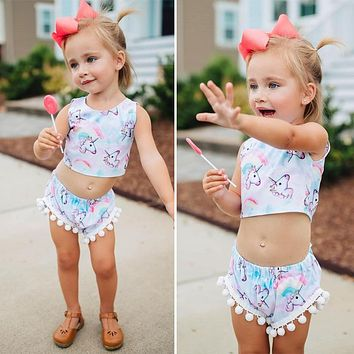 2018 Brand New Summer Toddler Infant Kids Girl Unicorn T-shirt Crop Top Vest+Shorts