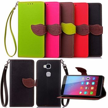 For Huawei Honor 4A 4X 4C 5X Luxury Leather Cover Flip Wallet Phone Case With Leaves Buckle And Lanyard Mobile Phone Shell