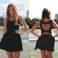Black Sleeveless Back Heart Shape Cut Out Skater Dress