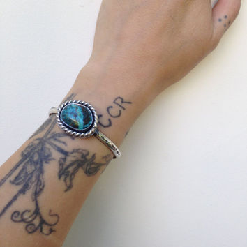 Stamped Turquoise Cuff Bracelet- Sterling Silver and Blue Diamond Turquoise-Hand Stamped Stacker Cuff