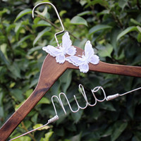 Personalized Wedding Hanger Butterfly Hanger, Fancy, Handmade flower Custom Name Hanger Bridal Hanger Bride Hanger Wire