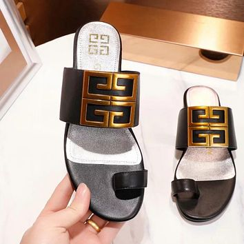 GIVENCHY Stylish Women Casual Leather Sandals Slipper Shoes Black