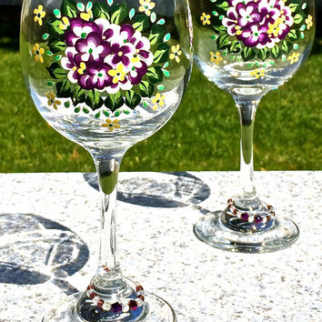 Painted Wine Glasses With Purple Flowers And Beaded Wine Glass Charms, Mothers Day Gift, Birthday Gift, Anniversary Gift