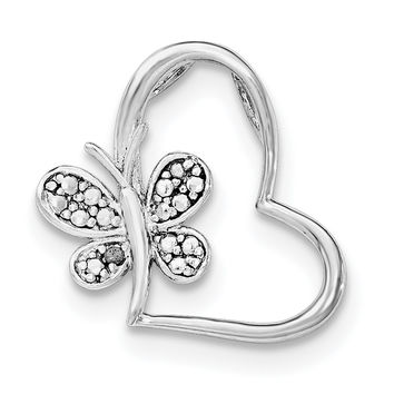 Sterling Silver Rhodium & Diam. Butterfly Heart Chain Slide QP4575