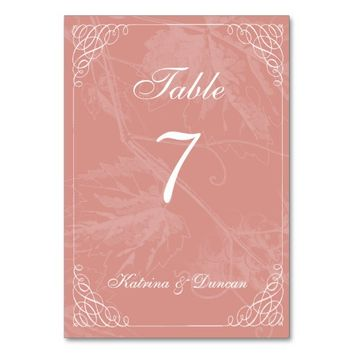 Swirl Coral Grapevine Personalized Table Card