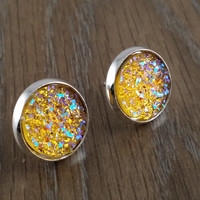 Druzy earrings- ab yellow drusy silver tone stud druzy earrings