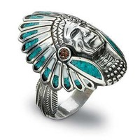 Mens Indian Head Silver & Turquoise Ring|WildWings