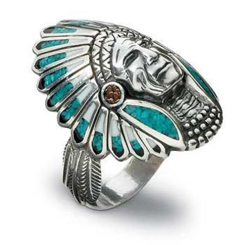 Mens Indian Head Silver & Turquoise Ring  |  Wild Wings