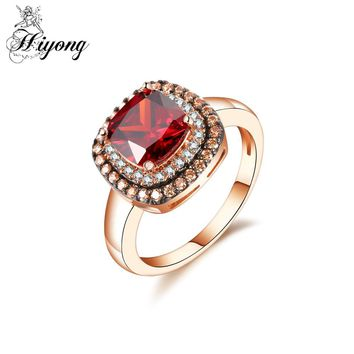 HIYONG Vintage Style Red Round CZ Dainty Small White&Coffee Stone Fashion Engagement Ring Halo Micro Pave Setting Dropshipping