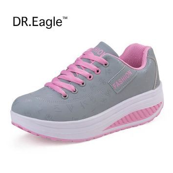 Winter shoes for Women Toning sneaker Lace Hollow Fitness Walking slimming Workout Shoes woman Wedge sneakers