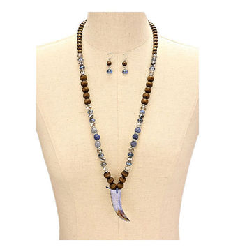 Blue Marble Horn Drop Long Wood & Glass Bead Necklace and Earring Set