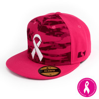 Digital Ripped camo pink snapback hat