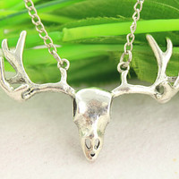 deer necklace--antique silver charm necklace,alloy chain,birthday gift