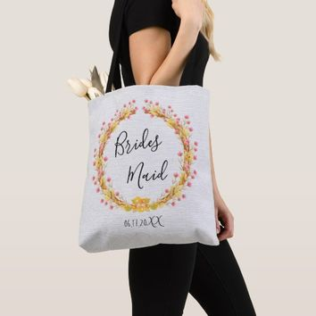 Rustic Floral Barn Wreath Bridesmaid Tote Bag