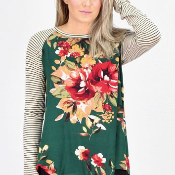Floral Suedette + Stripe Sleeve Top {Hunter Green}