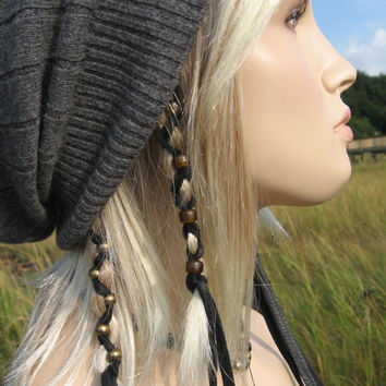 2 Ponytail Holders Brown / Black Leather Hair Wrap Beaded, Feather Bead Extensions You Choose Colors
