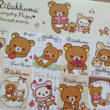 Japanese cartoon rabbit bear sticker Rilakkuma teddy bear white brown bear yellow chicken label sticker kids birthday party bag seal label B
