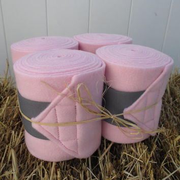 Set of 4 Polo Wraps for Horses- Light Pink with Grey Velcro Closure