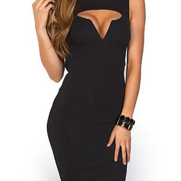 Black Cut Out Sleeveless Bodycon Mini Dress