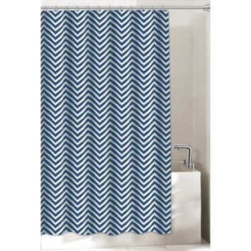 Chevron Shower Curtain in Navy