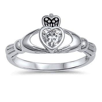 Irish Heart Claddagh Sterling Silver Ring with Bezel Set Heart Cubic Zirconia
