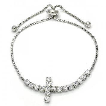 Rhodium Layered 03.221.0055.10 Fancy Bracelet, Cross Design, with White Cubic Zirconia, Polished Finish, Rhodium Tone
