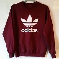 Adidas Burgundy Fashion Casual Long Sleeve Sport Top Sweater Pullover Sweatshirt