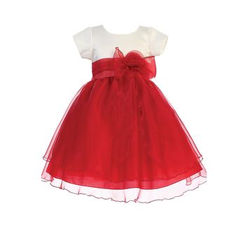 Ivory & Red Girls Crystal Organza Formal Dress w. Tiered Skirt 6m-7