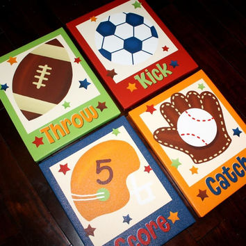 Set of 4 Lil MVP All Star Sports Boys Bedroom Stretched Canvases Kids Playroom Baby Nursery CANVAS Bedroom Wall Art 4CS003