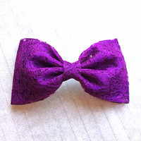 Purple Lace hair fabric bow from Bowlicious Divas Bowtique