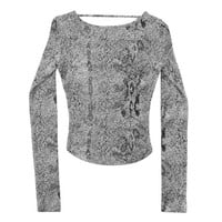 Snakeskin Cut Out Top - Black and White Python 90's Strappy Goth Bandage Minimal Women's Size Extra Small Small XS Sm S