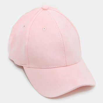 Light Pink Faux Suede Baseball Cap With Velcro Closure, One Size Fits All, Unisex Gift Idea
