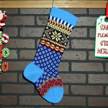 Christmas Stocking, Fair Isle Knit Stocking in Blue with Yellow Snowflake and Pink hearts, can be personalized, wedding gift, baby gift