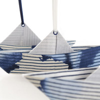 Set of 3 origami fabric decorative paper boat post mobile ,blue and white stripes pattern fabric, shelf decoration