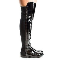 Kabul1 Black Patent By DBDK, Round Toe Thigh High Gold Chain Riding Boots