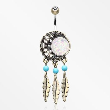Vintage Boho Filigree Moon Opal Dreamcatcher Belly Button Ring