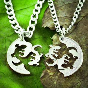Lizard Best Friend Necklaces, Fits Together like a puzzle by Namecoins