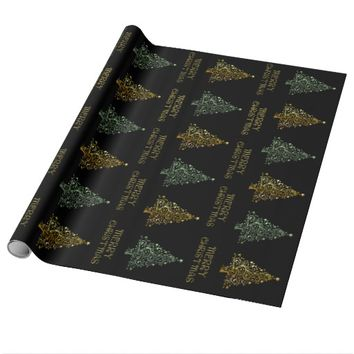 Black Gold Green Elegant Chic Christmas Tree Stars Wrapping Paper