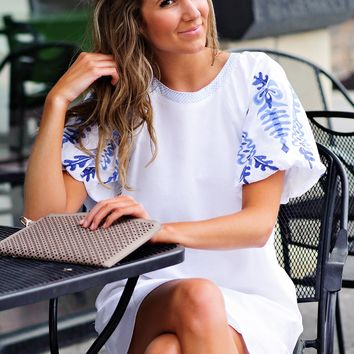 * Tatiana Dress With Embroidered Puffy Sleeve : White