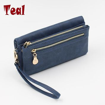 Hot Selling Women's Purse Long Design PU Leather Women's Long Wallet Female High Capacity Double Zippers Clutch Purse Wristlet