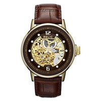 Relic® Mens Gold-Tone Automatic Skeleton Leather Strap Watch