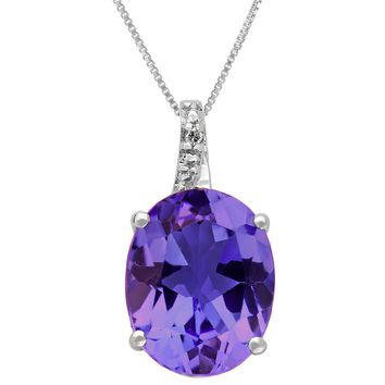 2.40 Ct Oval Purple Amethyst and Diamond Sterling Silver Pendant 18""