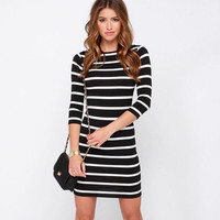 Black Retro Hepburn Waist Striped Dress