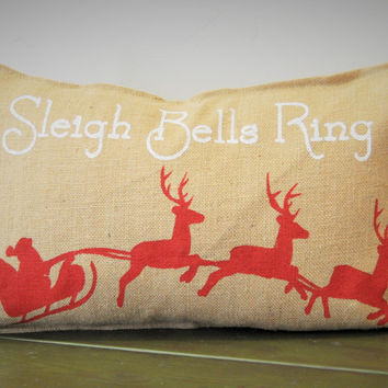 Sleigh Bells Ring with Santa's Sleigh Christmas pillow cover