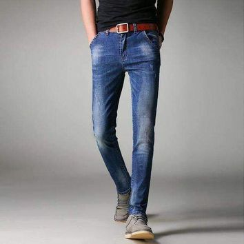 ICIKON3 men jeans business casual slim fit blue jeans stretch denim pants trousers classic cowboys young man