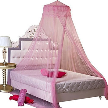 GYBest Round Lace Curtain Dome Bed Canopy Netting Princess Mosquito Net (Pink)