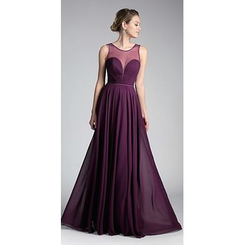 Long A-Line Chiffon Dress Eggplant Illusion Neckline And Open V-Back