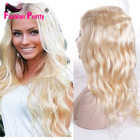 10A Top Quality Glueless Full Lace Blonde Human Hair Wigs Virgin Brazilian Blonde Full Lace Human Hair Wigs #613 Lace Front Wig