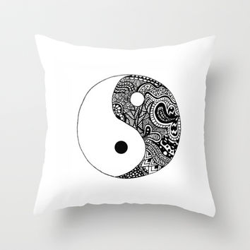 Yin Yang Throw Pillow by Abby Mitchell
